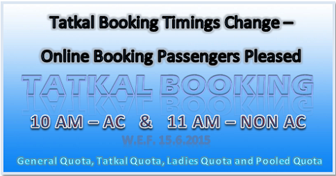 Tatkla Booking Timings Changed