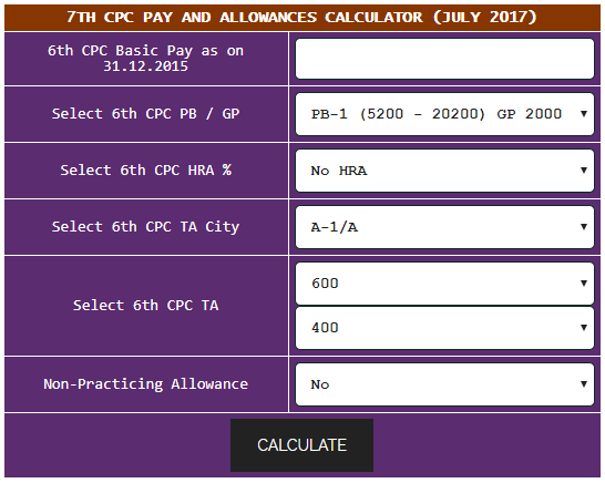 7th Pay Commission Arrears Calculator 2016 CENTRAL - induced info